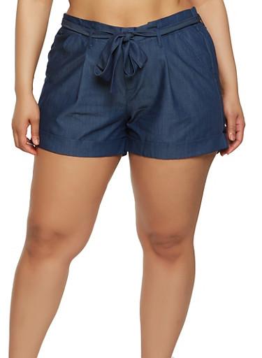 Plus Size Tie Belt Chambray Shorts,DARK WASH,large
