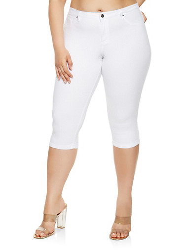 Plus Size Hyperstretch Capris,WHITE,large