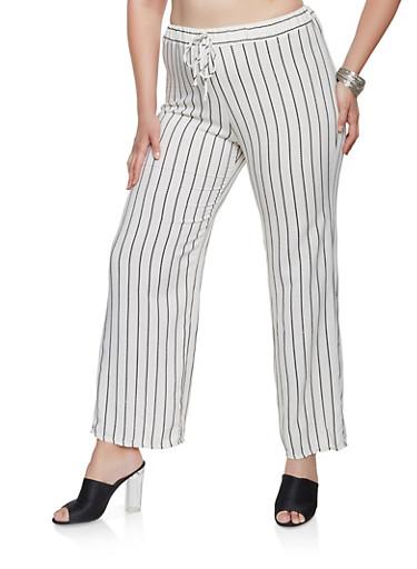 Plus Size Striped Linen Pants,BLACK,large