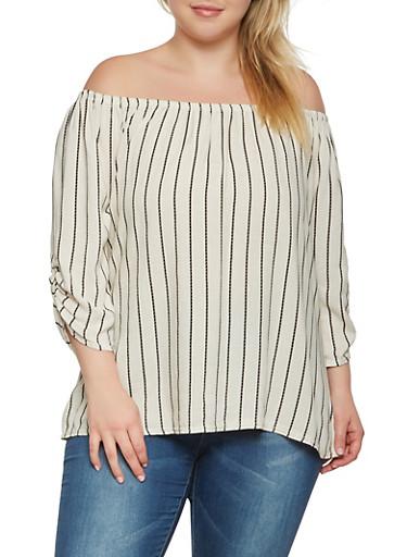 Plus Size Striped Off the Shoulder Linen Top,BLACK,large