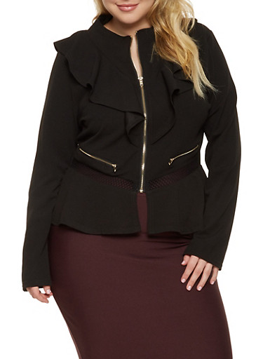 Plus Size Ruffle Fishnet Trim Zip Blazer,BLACK,large
