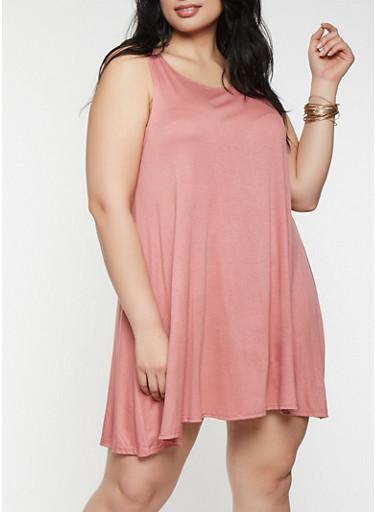 Plus Size Trapeze Tank Dress,PINK,large