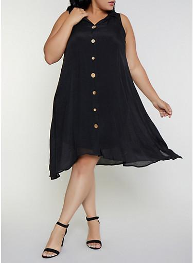 Plus Size Sleeveless Shirt Dress