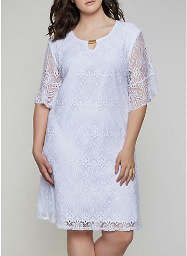 Plus Size Lace Bell Sleeve Dress - Rainbow