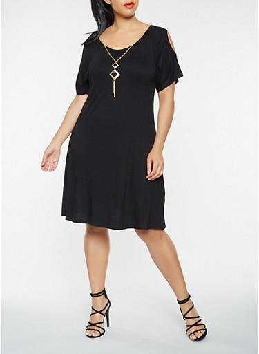 Plus Size Cold Shoulder T Shirt Dress with Necklace,BLACK,large