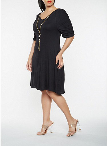 Plus Size Ruched Sleeve Dress with Necklace,BLACK,large