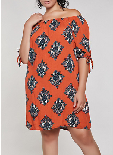 Plus Size Medallion Print Off the Shoulder Dress,RUST,large