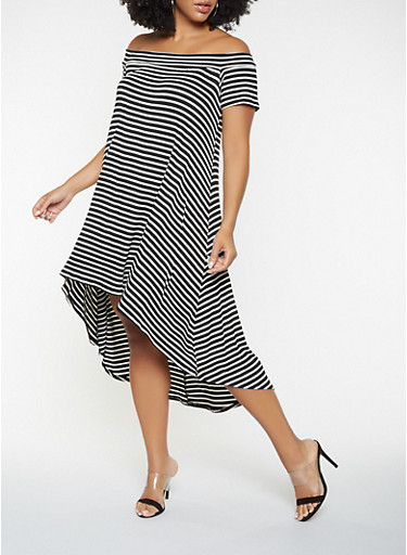 Plus Size Striped Off the Shoulder High Low Dress,BLACK,large
