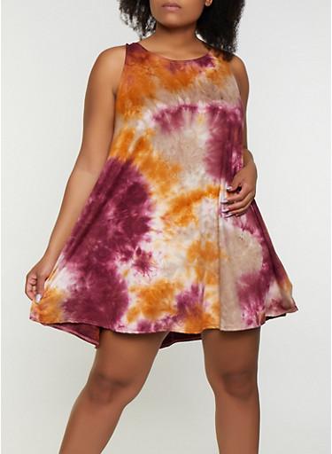 Plus Size Tie Dye Swing Dress,WINE,large