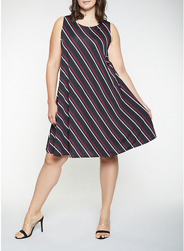 Plus Size Striped Trapeze Dress,BLACK,large