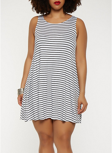 Plus Size Striped Tank Dress,BLACK,large