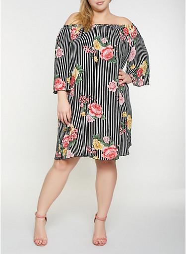 Plus Size Floral Striped Off the Shoulder Dress,BLACK,large