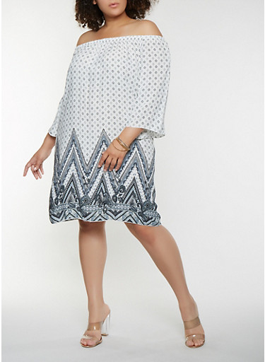 Plus Size Off the Shoulder Border Print Dress,WHITE,large