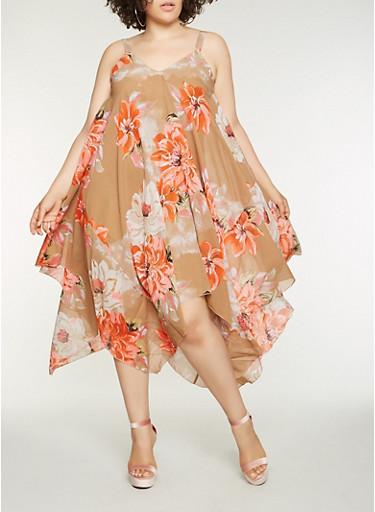 Plus Size Floral Sharkbite Hem Dress,KHAKI,large
