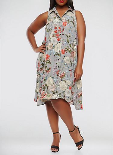 Plus Size Striped Floral Trapeze Dress,BLACK,large