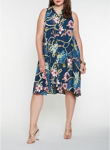 Plus Size Printed Shirt Dress,TEAL,large