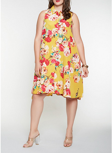Plus Size Floral Shirt Dress,MUSTARD,large