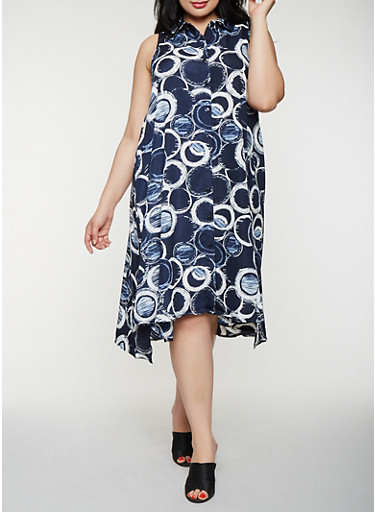 Plus Size Printed Shirt Dress | Tuggl