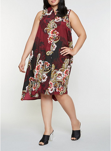 Plus Size Printed Shirt Dress,WINE,large