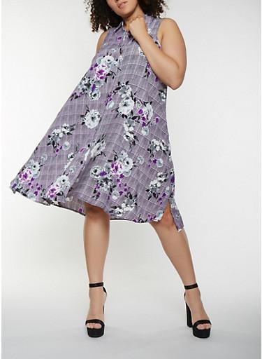 Plus Size Floral Plaid Button Front Dress,PURPLE,large