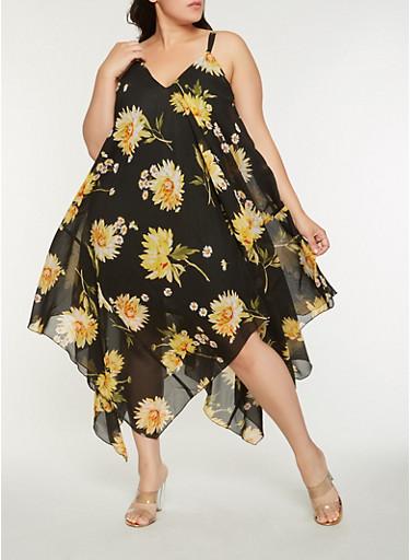 Plus Size Floral Sharkbite Hem Dress,YELLOW,large