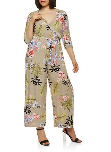 Plus Size Floral Faux Wrap Jumpsuit with Sleeves,SAGE,large