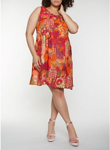 Plus Size Sleeveless Printed Trapeze Dress,FUCHSIA,large