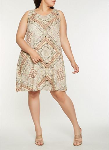 Plus Size Printed Midi Shift Dress,KHAKI,large