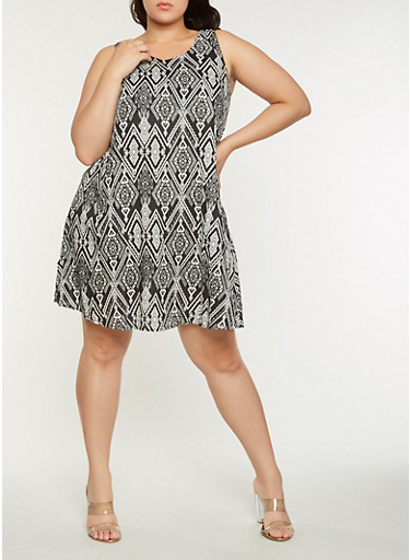 Plus Size Geometric Print Shift Dress,BLACK,large