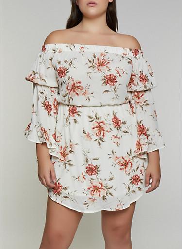 Plus Size Floral Off the Shoulder Bell Sleeve Dress