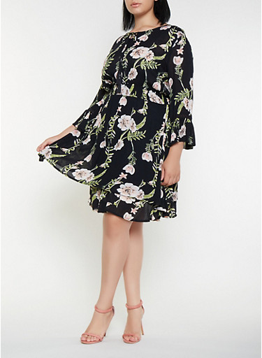 Plus Size Floral Gauze Knit Skater Dress | Tuggl