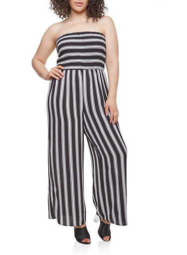 Plus Size Striped Smocked Top Jumpsuit,BLACK,large