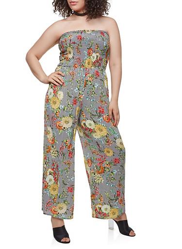 Plus Size Striped Floral Jumpsuit,BLACK,large