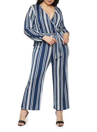 Plus Size Faux Wrap Long Sleeve Jumpsuit,NAVY,large