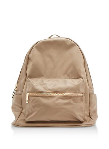 Nylon Backpack,KHAKI,large