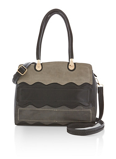 Faux Leather Waves Satchel Bag | Tuggl