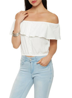 Off the Shoulder Button Detail Crop Top - WHITE - 0001054269730