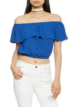 Off the Shoulder Button Detail Crop Top - 0001054269730