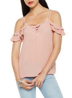 Lace Up Cold Shoulder Top - 0001054269834
