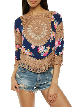 Floral Crochet Dolman Sleeve Top - 0001058755744
