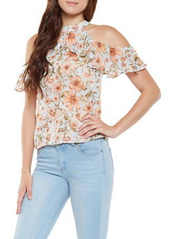 Printed Ruffled Cold Shoulder Top - 0001074290134