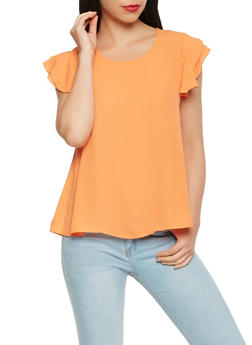 Ruffle Sleeve Crepe Knit Blouse - 0001074290139