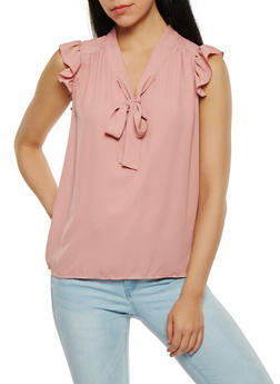 Ruffled Tie Neck Blouse - 0001074290394