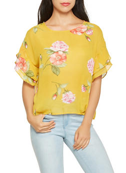 Tiered Sleeve Floral Blouse - 0001074291161
