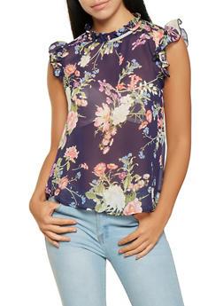 Ruffle Trim Floral Blouse - 0001074291163