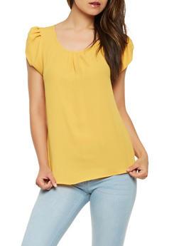 Tulip Cap Sleeve Blouse - 0001074291165