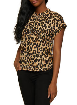 Cheetah Print Zip Neck Top - 0001074293103