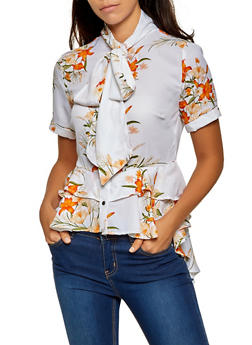 Floral Ruffled Tie Neck Blouse - 0001074293127