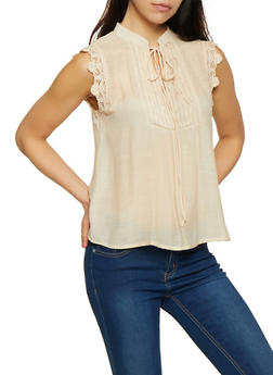 Crochet Trim Sleeveless Gauze Knit Top - 0001074297109