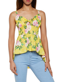 Tie Front Floral High Low Top - 0002038340681